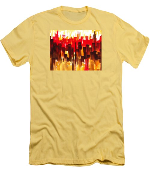 Men's T-Shirt (Slim Fit) featuring the painting Urban Abstract Glowing City by Irina Sztukowski
