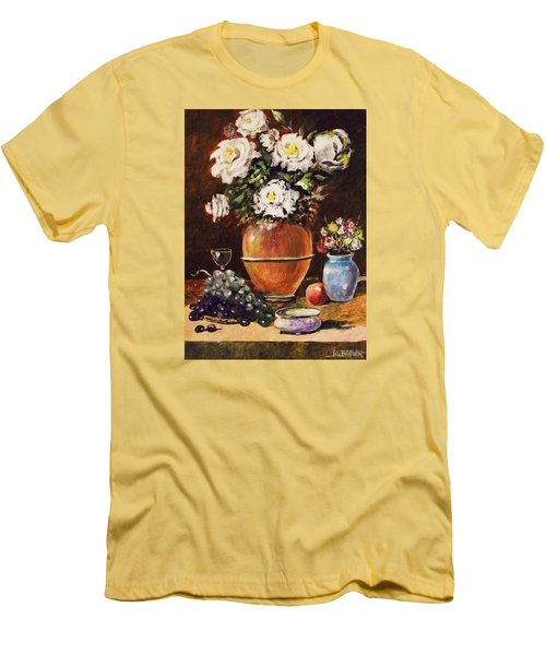 Men's T-Shirt (Slim Fit) featuring the painting Vase Of Flowers And Fruit by Al Brown