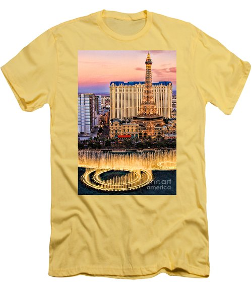 Vegas Water Show Men's T-Shirt (Slim Fit) by Tammy Espino