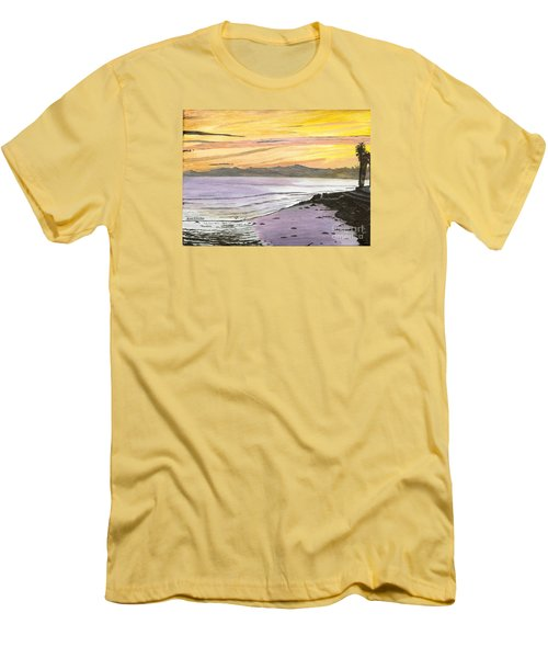 Men's T-Shirt (Slim Fit) featuring the painting Ventura Point At Sunset by Ian Donley