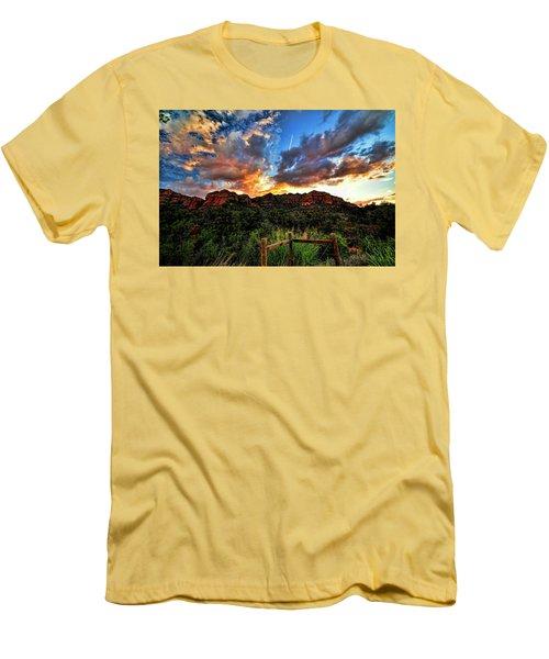 View From The Fence  Men's T-Shirt (Slim Fit) by Saija  Lehtonen