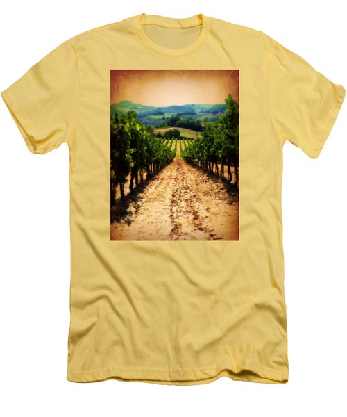 Men's T-Shirt (Slim Fit) featuring the photograph Vigneto Toscana by Micki Findlay