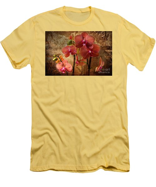 Vintage Burnt Orange Orchids Men's T-Shirt (Athletic Fit)