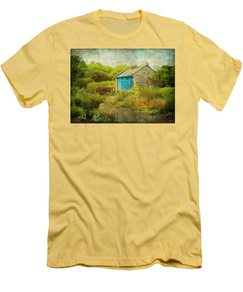 Vintage Inspired Garden Shed With Blue Door Men's T-Shirt (Athletic Fit)