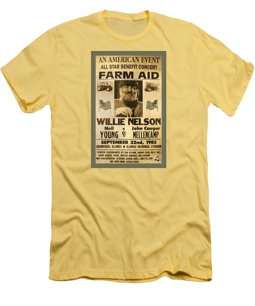 Vintage Willie Nelson 1985 Farm Aid Poster Men's T-Shirt (Athletic Fit)