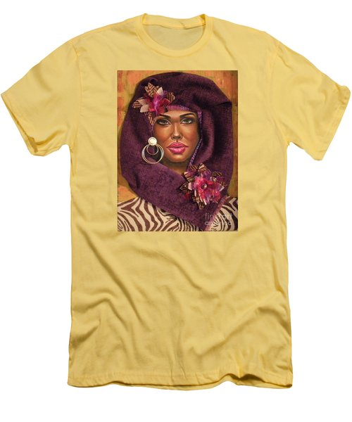 Men's T-Shirt (Slim Fit) featuring the painting Violets by Alga Washington