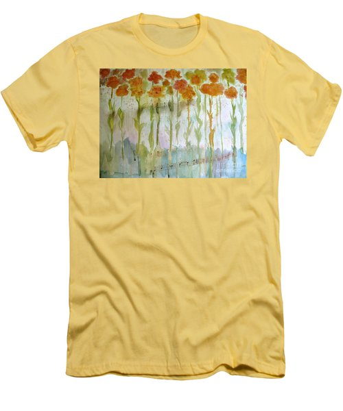 Men's T-Shirt (Slim Fit) featuring the painting Waltz Of The Flowers by Sandy McIntire