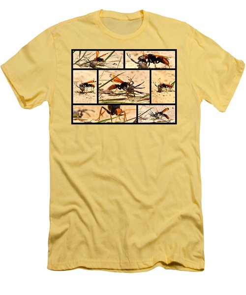 Men's T-Shirt (Slim Fit) featuring the photograph Wasp And His Kill by Miroslava Jurcik