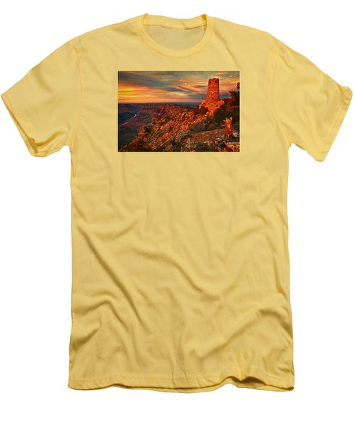 Men's T-Shirt (Slim Fit) featuring the photograph Watchtower Sunset by Priscilla Burgers