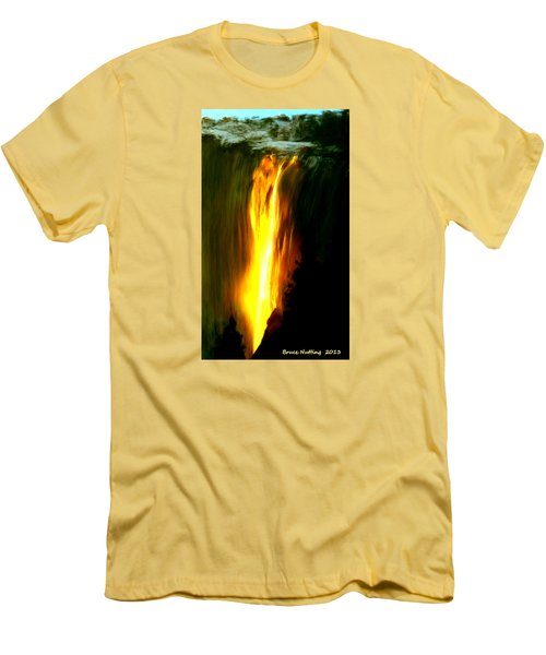 Men's T-Shirt (Slim Fit) featuring the painting Waterfalls By Light by Bruce Nutting