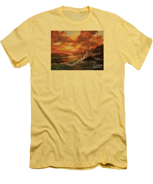 Men's T-Shirt (Slim Fit) featuring the painting Wave Crash by Vanessa Palomino