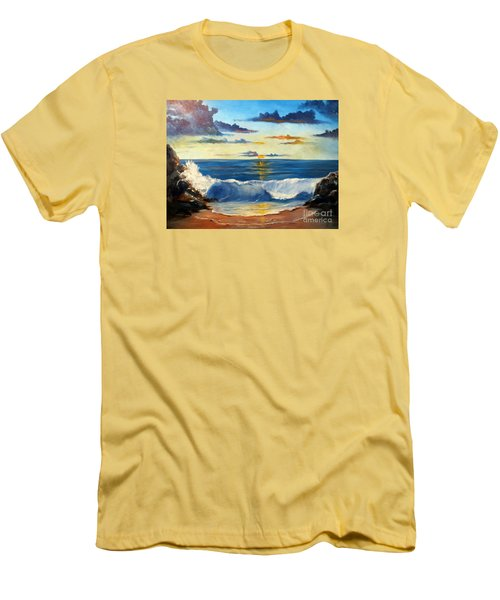Men's T-Shirt (Slim Fit) featuring the painting West Coast Sunset by Lee Piper