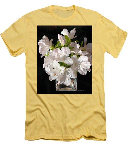 White Azalea Bouquet In Glass Vase Men's T-Shirt (Slim Fit) by Connie Fox