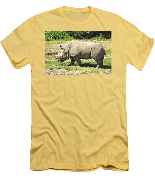 White Rhinoceros Grazing Men's T-Shirt (Slim Fit) by CML Brown
