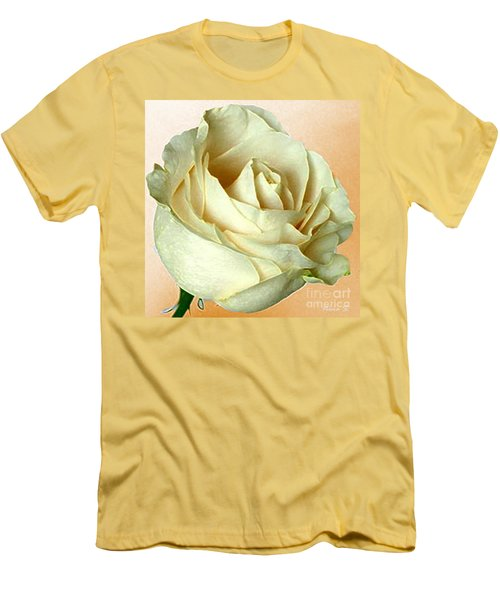 Men's T-Shirt (Slim Fit) featuring the photograph White Rose On Sepia by Nina Silver