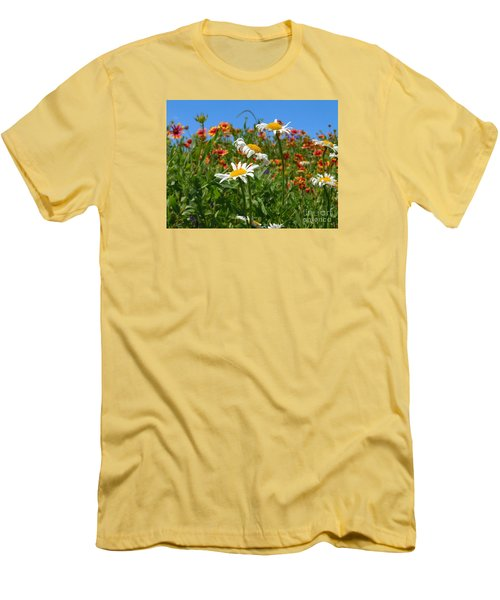 Men's T-Shirt (Slim Fit) featuring the photograph Wild White Daisies #1 by Robert ONeil