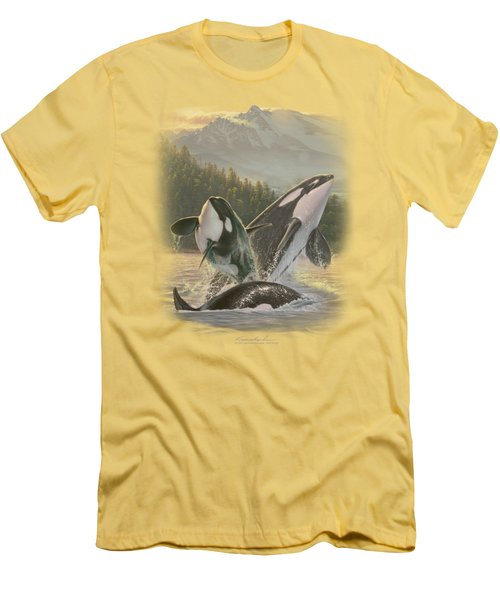 Wildlife - Breaching Orcas Men's T-Shirt (Slim Fit) by Brand A
