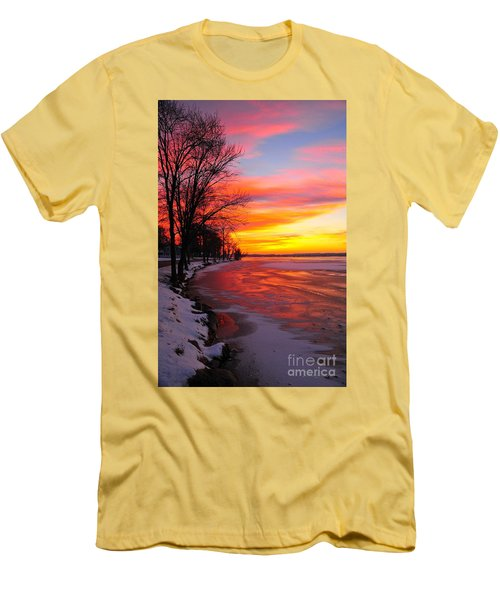 Men's T-Shirt (Slim Fit) featuring the photograph Winter Sunrise On Lake Cadillac by Terri Gostola