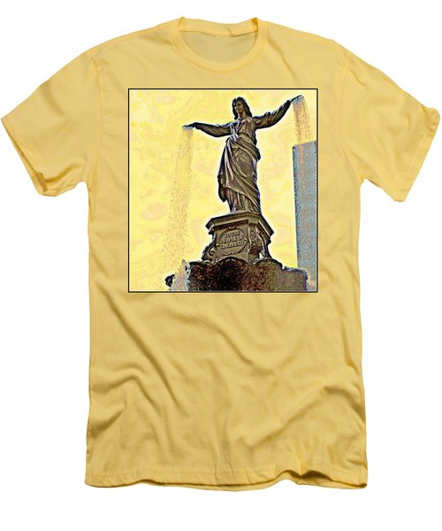 Woman And Flowing Water Sculpture At Fountain Square Men's T-Shirt (Athletic Fit)