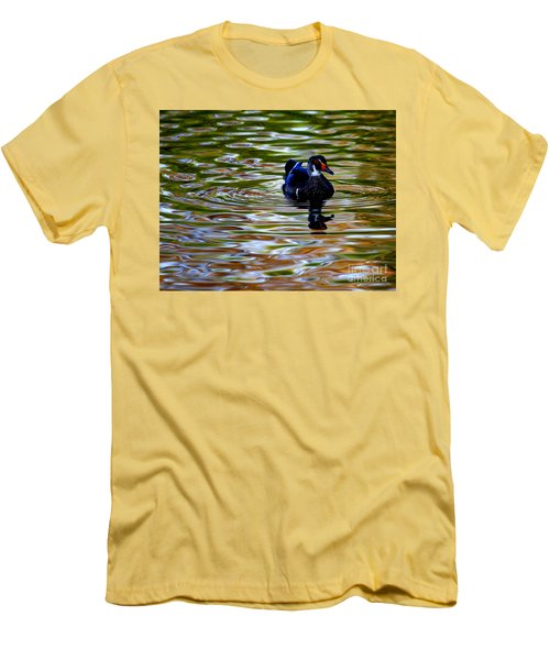 Men's T-Shirt (Slim Fit) featuring the photograph Wood Duck Reflections by John F Tsumas