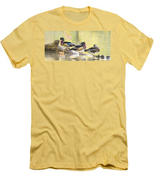 Wood-ducks Panorama Men's T-Shirt (Slim Fit) by Mircea Costina Photography