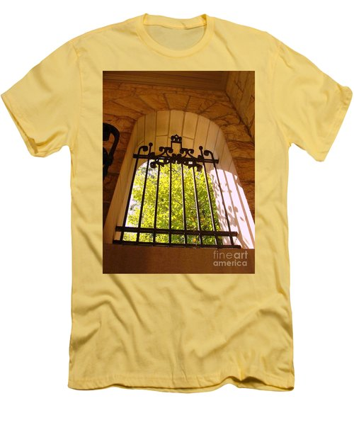 Men's T-Shirt (Slim Fit) featuring the photograph Wrought Iron Arch Window by Becky Lupe