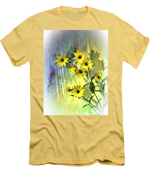Men's T-Shirt (Slim Fit) featuring the photograph Yellow Daisies by Judy  Johnson
