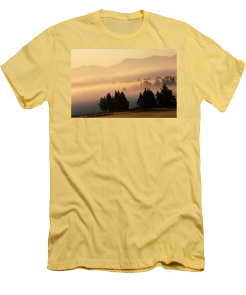 Yellowstone Sunrise Men's T-Shirt (Slim Fit) by Steve Archbold