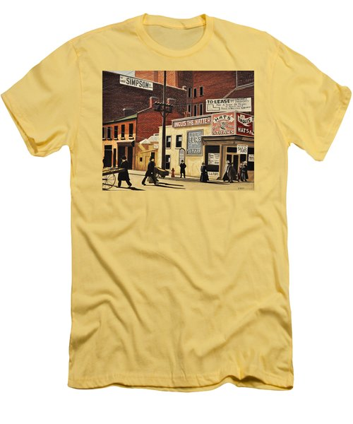 Men's T-Shirt (Slim Fit) featuring the painting Yonge And Richmond Streets 1899 by Kenneth M  Kirsch