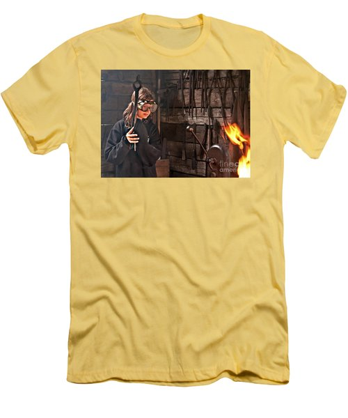 Young Blacksmith Girl Art Prints Men's T-Shirt (Athletic Fit)