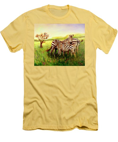 Men's T-Shirt (Slim Fit) featuring the painting Zebras At Ngorongoro Crater by Sher Nasser