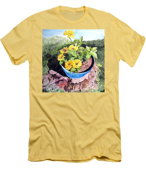 Men's T-Shirt (Slim Fit) featuring the painting Zinnia On A Tree Stump by Sandy McIntire