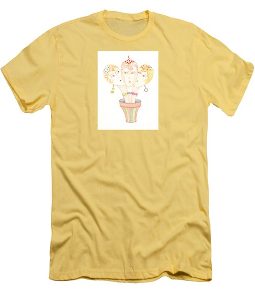 Men's T-Shirt (Slim Fit) featuring the painting Flower Pot Ladies by Nareeta Martin