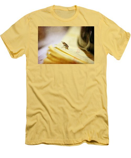 Men's T-Shirt (Slim Fit) featuring the photograph A Red Eyes Fly On The Yellow Paper by Ester  Rogers