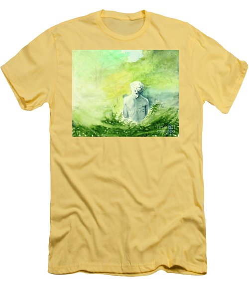 Men's T-Shirt (Slim Fit) featuring the painting A Statue At The Wellers Carriage House -5 by Yoshiko Mishina
