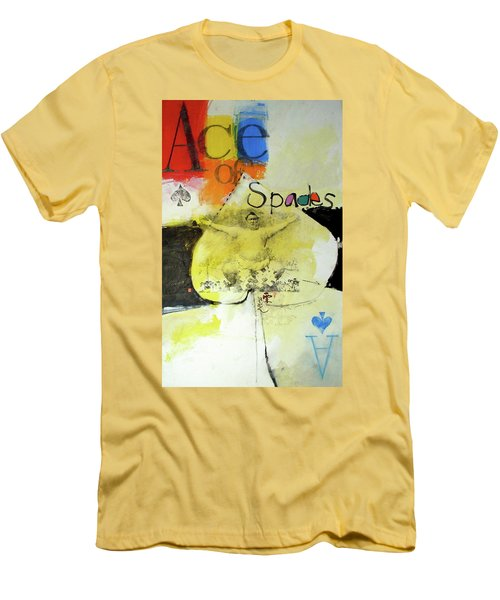 Men's T-Shirt (Slim Fit) featuring the mixed media Ace Of Spades 25-52 by Cliff Spohn