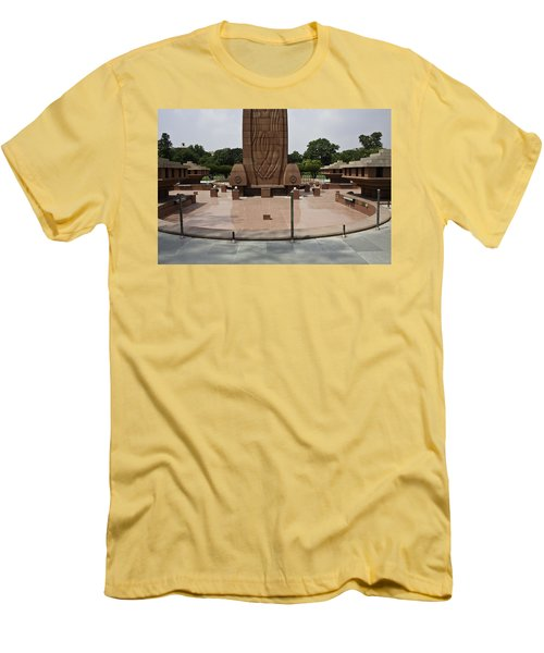 Men's T-Shirt (Slim Fit) featuring the photograph Base Of The Jallianwala Bagh Memorial In Amritsar by Ashish Agarwal