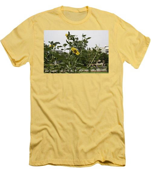 Men's T-Shirt (Slim Fit) featuring the photograph Beautiful Yellow Flower In A Garden by Ashish Agarwal