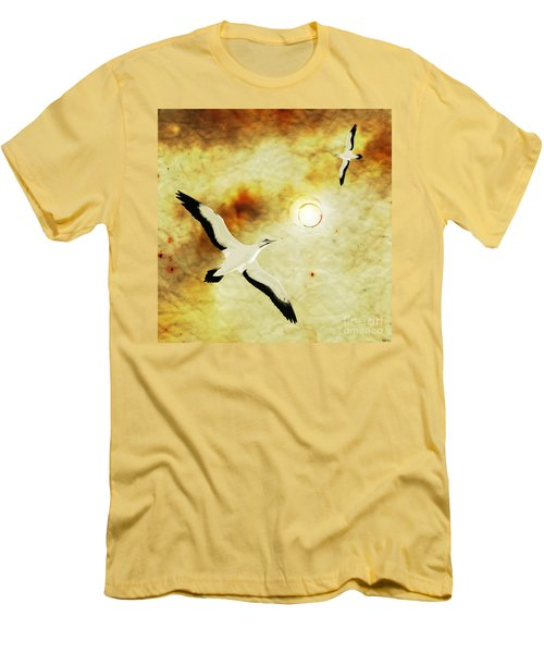 Men's T-Shirt (Slim Fit) featuring the digital art Birds Of The Sun by Phil Perkins
