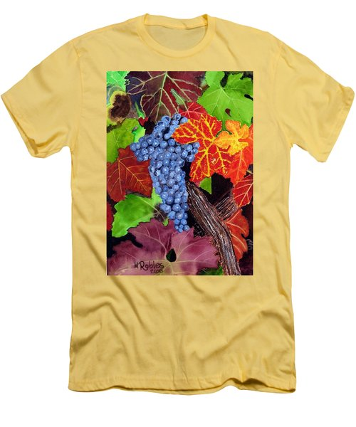 Fall Cabernet Sauvignon Grapes Men's T-Shirt (Slim Fit) by Mike Robles