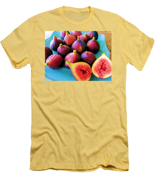Men's T-Shirt (Slim Fit) featuring the photograph Fruit - Jersey Figs - Harvest by Susan Carella