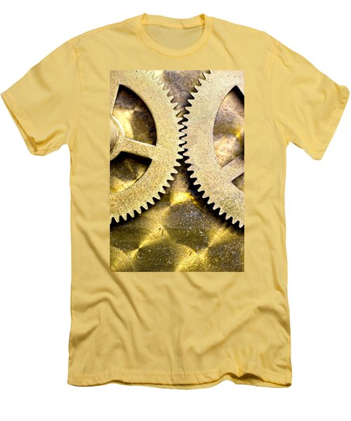 Men's T-Shirt (Slim Fit) featuring the photograph Gears From Inside A Wind-up Clock by John Short