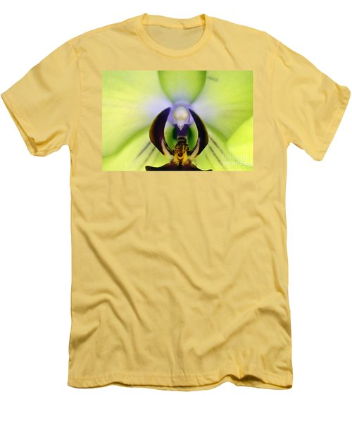 Men's T-Shirt (Athletic Fit) featuring the photograph Green Orchid Macro by Clayton Bruster
