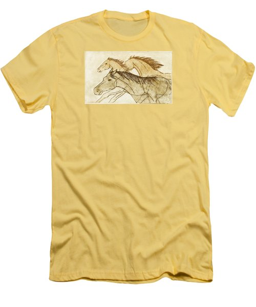 Men's T-Shirt (Slim Fit) featuring the drawing Horse Sketch by Nareeta Martin