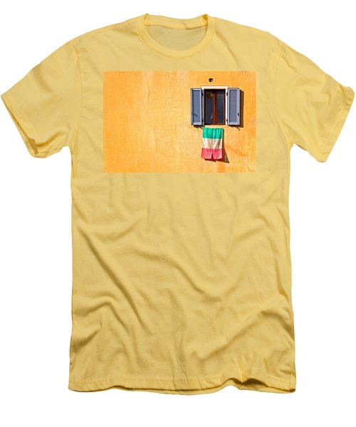 Italian Flag Window And Yellow Wall Men's T-Shirt (Slim Fit) by Silvia Ganora
