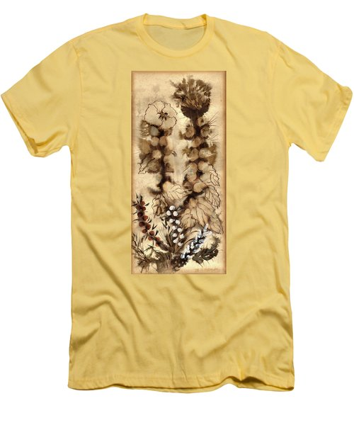 Kotsim Thorny Desert Plants In Brown Flowers Leaves Monochrome White   Men's T-Shirt (Athletic Fit)