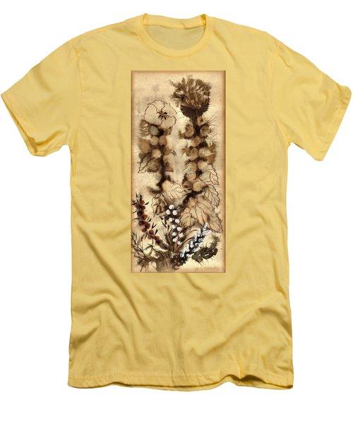 Kotsim Thorny Desert Plants In Brown Flowers Leaves Monochrome White   Men's T-Shirt (Slim Fit) by Rachel Hershkovitz