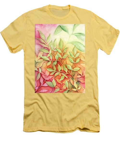 Nandina Leaves Men's T-Shirt (Slim Fit) by Carla Parris