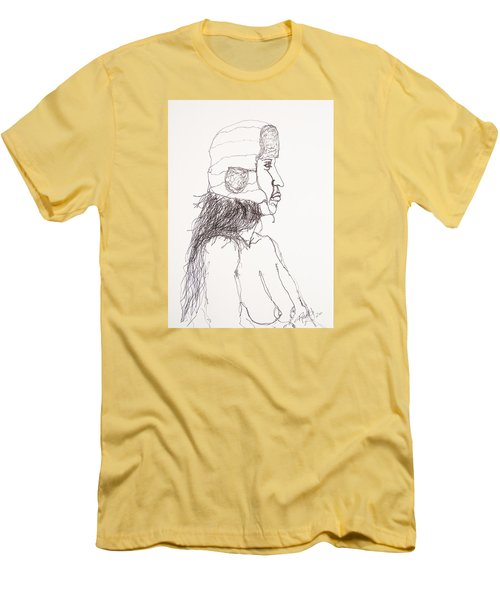 Nude With Hat On Bus Men's T-Shirt (Slim Fit) by Rand Swift