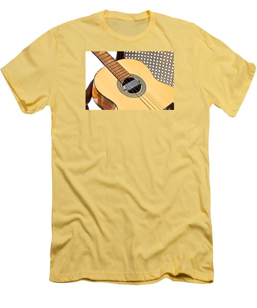 Men's T-Shirt (Slim Fit) featuring the photograph Old Guitar In A Chair by Susan Leggett
